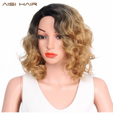 Curly Wavy Ombre Blonde Color Synthetic Bob Wig WS714A