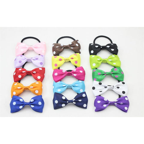 Nylon Wrapped Hair Ties W Bow 12pcs - elegance24sevendotcom