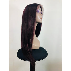"Lace Front Human Hair 150% Density Wig 18"" Straight - Colour 99J - Elegance24seven Hair"
