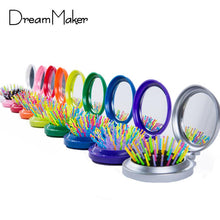 Load image into Gallery viewer, Small Fold-able Rainbow Hair Brush/Compact - Elegance24seven Hair