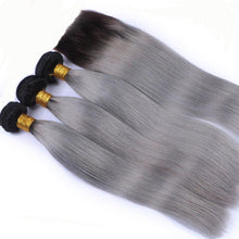 Load image into Gallery viewer, 10A Grade OMBRE#T1/GREY (Straight) - Elegance24seven Hair