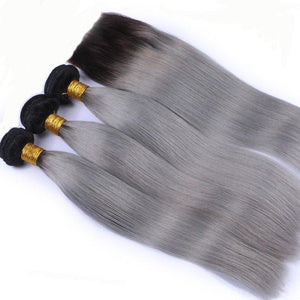 10A Grade OMBRE#T1/GREY (Straight) - Elegance24seven Hair