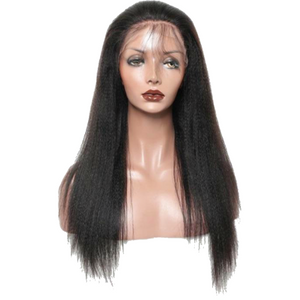 "Light Yaki Lace Frontal Wig Pre Plucked With Baby Hair 150 Density Straight Wig 18"" - Elegance24seven Hair"