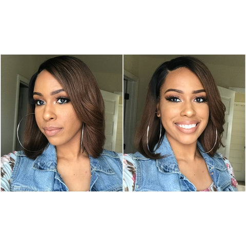 "Straight 10"" Bob Wig - Virgin Human Hair Lace Front - Ombre 1B/33 - Elegance24seven Hair"