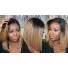 "Load image into Gallery viewer, Straight 10"" Bob Wig - Virgin Human Hair Lace Front - 1B/27 - Elegance24seven Hair"