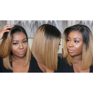 "Straight 10"" Bob Wig - Virgin Human Hair Lace Front - 1B/27 - Elegance24seven Hair"