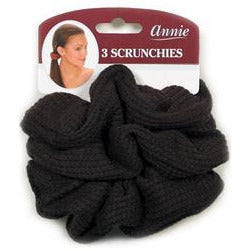 Annie Hair Scrunchies Black (3pc) #3373 - Elegance24seven Hair
