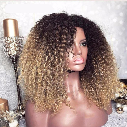 Mongolian Afro Kinky Curly 13x6 Ombre Human Hair Wig ONLINE ONLY - Elegance24seven Hair