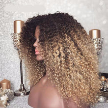 Load image into Gallery viewer, Mongolian Afro Kinky Curly 13x6 Ombre Human Hair Wig ONLINE ONLY - Elegance24seven Hair