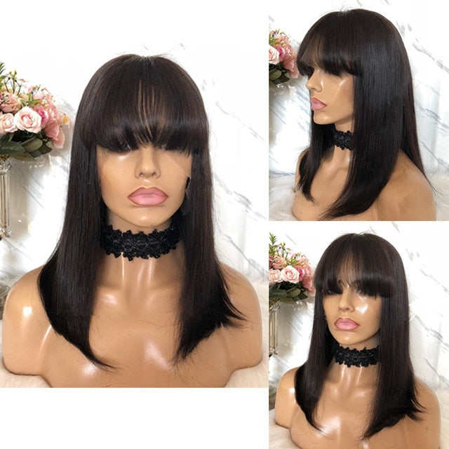 Bob with bangs Lace Front Wig Natural Black - Remy Human Hair with Baby Hairs - Elegance24seven Hair