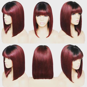 Bob with bangs T1B/BURGUNDY  Human Hair Lace Front Wig ONLINE ONLY - Elegance24seven Hair