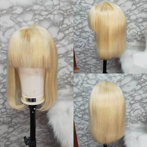 Bob with bangs 613 BlondeLace Front  Human Hair Wigs ONLINE ONLY - Elegance24seven Hair