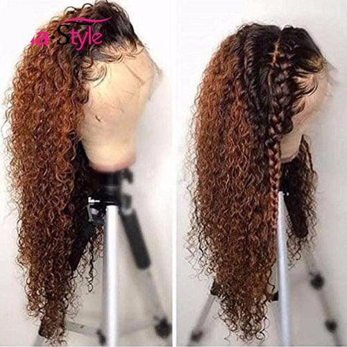 Kinky Curly Ombre Lace Front Honey Blonde Human Hair Wigs ONLINE ONLY - Elegance24seven Hair