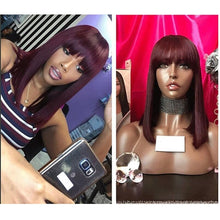 Load image into Gallery viewer, Bob with bangs T1B/BURGUNDY  Human Hair Lace Front Wig ONLINE ONLY - Elegance24seven Hair