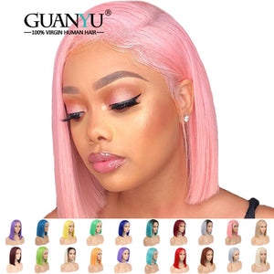 COLORFUL Human Hair Lace Front Bob Wigs ONLINE ONLY - Elegance24seven Hair