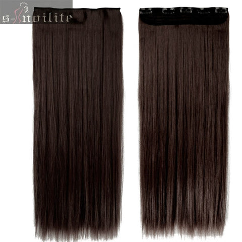S-noilite Fall to waist 46-76 CM Longest Clip in Hair Extensions One Piece Natural Thick Synthetic hair