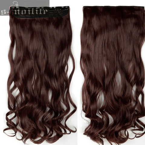 "S-noilite 18-28"" Curly 3/4 Full Head Clip in Hair Extensions Black Brown Blonde Real Natural Synthetic One Piece"