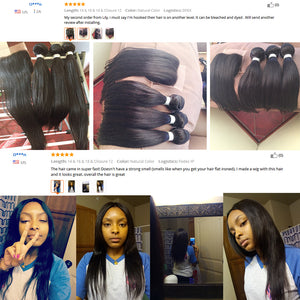 Brazilian Straight Human Hair 3 Bundles With Closure (Available Online Only) - Elegance24seven Hair