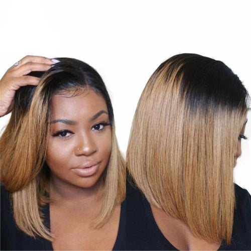 Short Bob Lace Front Wig 1B/27 Ombre Peruvian Human Hair Wig ONLINE ONLY - Elegance24seven Hair