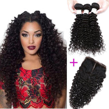 Load image into Gallery viewer, Brazilian Hair Deep Wave Human Hair 3 Bundles With free part Closure (Available Online Only) - Elegance24seven Hair