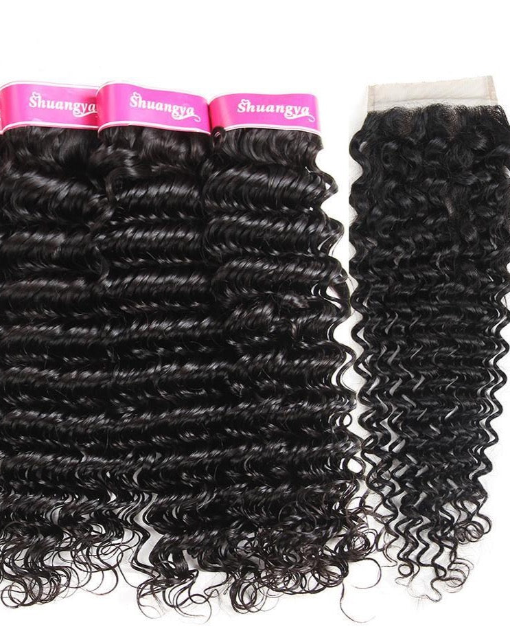 Brazilian Hair Deep Wave Human Hair 4 Bundles With free part Closure (Available Online Only) - Elegance24seven Hair