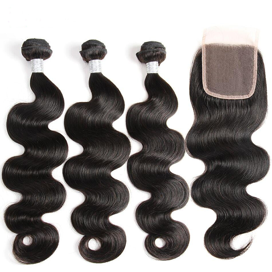 Brazilian Body Wave Hair 3 Bundles With Closure (Available Online Only) - Elegance24seven Hair