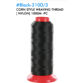 Nylon Black Thread for Sewing & Weaving - Jumbo Roll - Elegance24seven Hair