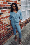 Denim down jumpsuit