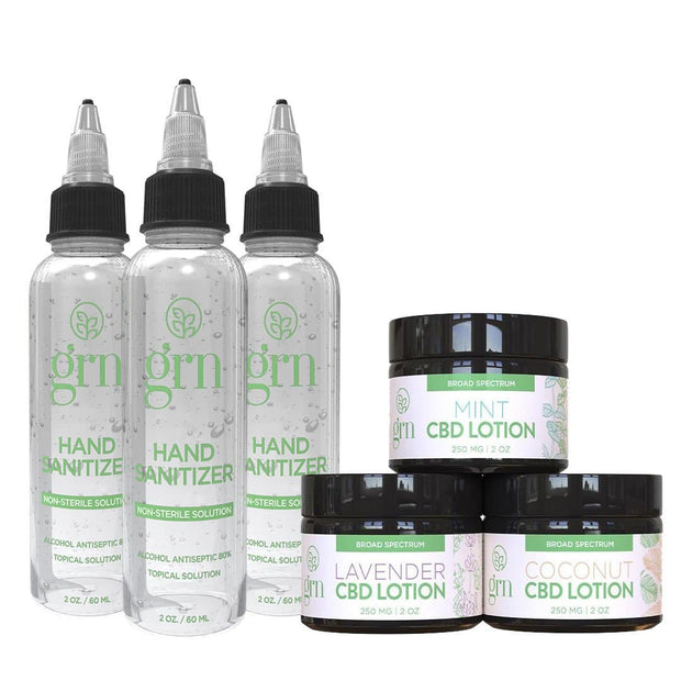 3-Pack Hand Sanitizer with 3-Pack CBD Lotion