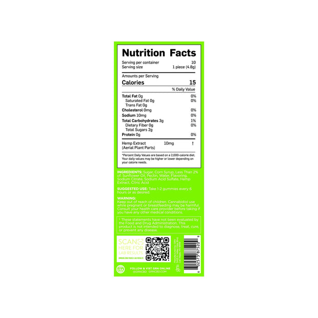 Nutrition Facts for Lime CBD Gummies. 15 Calories per serving, 10 servings per container.