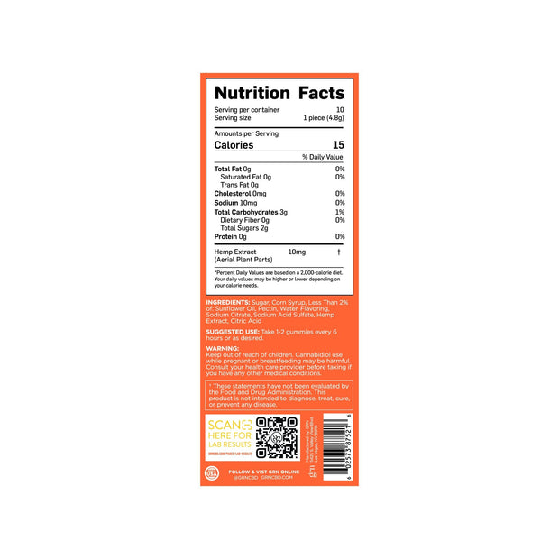 Nutrition Facts for 100mg Bags of Lime Flavored CBD Gummies. 15 Calories per serving, 10 servings per container.
