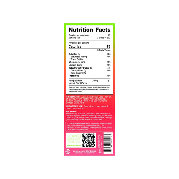 Nutrition Facts for 100mg Bags of Mixed Fruit Flavored CBD Gummies. 15 calories per serving, 10 servings per bag.