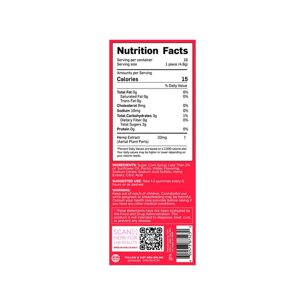 Nutrition Facts for 100mg Bags of Strawberry Flavored CBD Gummies. 15 Calories per serving, 10 servings per container.