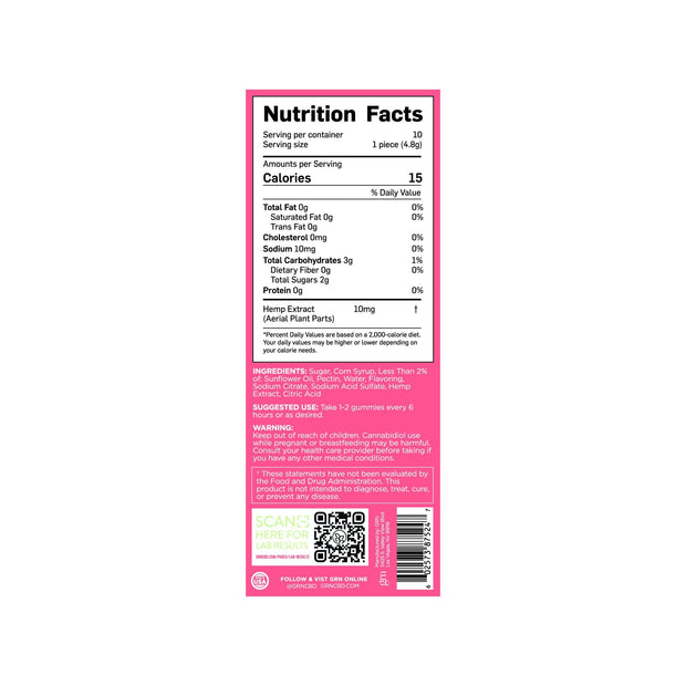 Nutrition Facts for 100mg Bags of Watermelon Flavored CBD Gummies. 15 calories per serving, 10 servings per container.