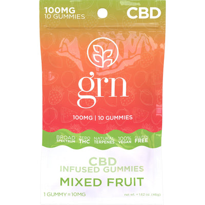 100mg Bag of Mixed Fruit Flavored CBD Gummies