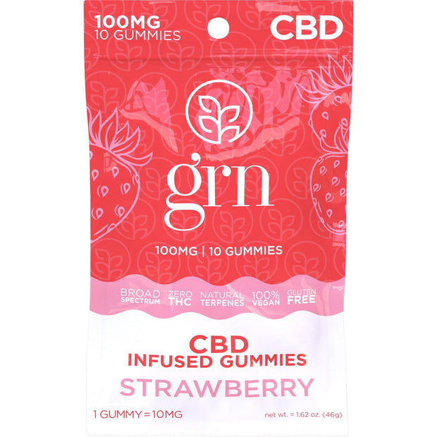 100mg Bag of Strawberry Flavored CBD Gummies