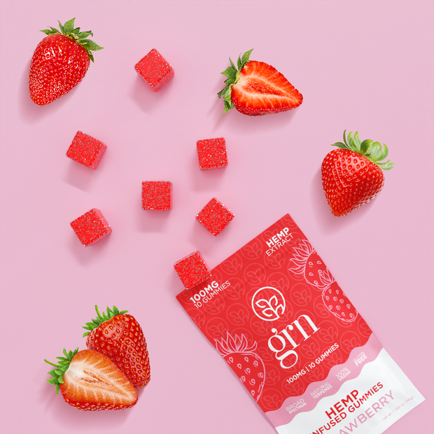 100mg Bags of Strawberry Flavored CBD Gummies