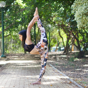 Leisure Legs cat legging worn by yoga model