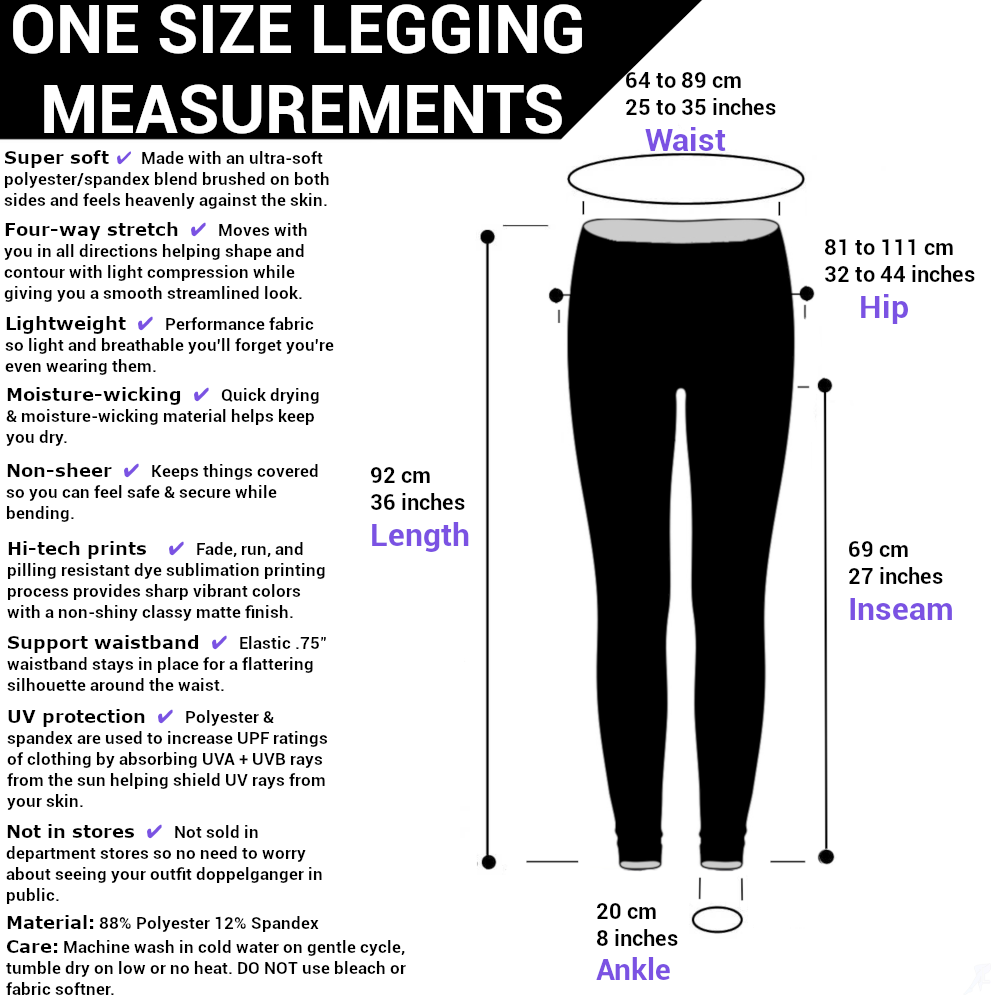 LeisureLegs one size legging sizing chart