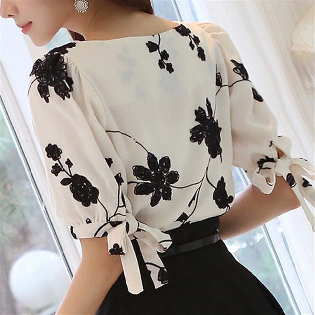 Fashion Women Shirt Blouse Summer Tops Chiffon Casual Shirt O Neck Half Sleeve Floral Printing Female Blusas Clothing