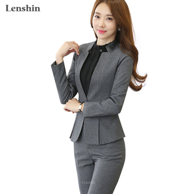 2 piece Gray Pant Suits Formal Ladies Office OL Uniform Designs Women elegant Business Work Wear Jacket with Trousers Sets