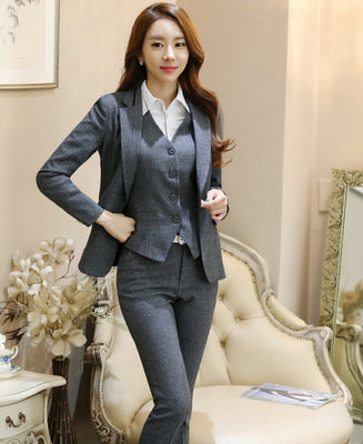 Novelty Grey Professional Formal Pantsuits For Business Women Suits 3 pieces With Jackets + Pants + Vest Female Trousers Sets OL