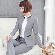 Plus Size 4XL Long Sleeve Autumn Winter Grey Black Pantsuits With Jackets And Pants For Ladies Professional Blazers Trousers Set