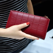 Womens Wallets and Purses Ladies Long 2 Zipper Coin Pocket 5.5 Phone Lady 10 Card Holder pu Leather Red Girls Wallet Female