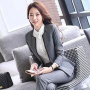 2 Pieces Set New Women Formal Pant Suit for Office Ladies Business V-neck Gray Professional Work Wear