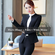3 Piece Set Women Pant Suit Uniform Designs Formal Style Office Lady Business Career Gray Blazer With Pant For Work