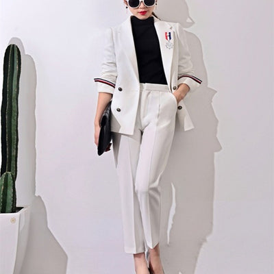 New Formal Suits for Women Casual Office Business Suitspants Work Wear Sets Uniform Styles Elegant Pant Suits  J17CT0006