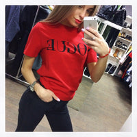 2018 Brand Summer Tops Fashion Clothes for Women VOGUE Letter Printed Harajuku T Shirt Red Black female T-shirt Camisas