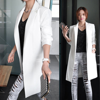 New 2018 Women Fashion OL Ong Sleeve Blazers Office Long Suit Jacket Feminino Bussiness Work  E969