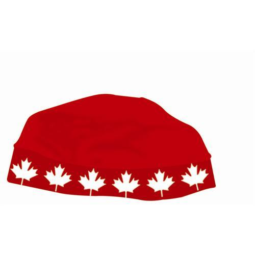 SKULL CAP MAPLE LEAF BAND (RED) - With Ponytail hole Canada